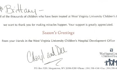 Thank You Card from WVU Children's Hospital